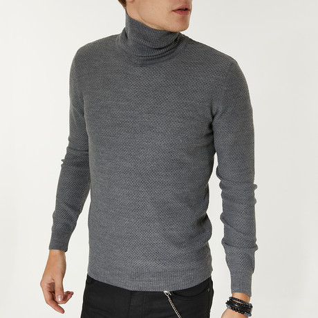 Wool Blend Textured Turtleneck Sweater // Gray (XS)
