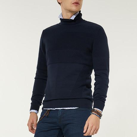 Shawl Neck Sweater // Navy Blue (XS)
