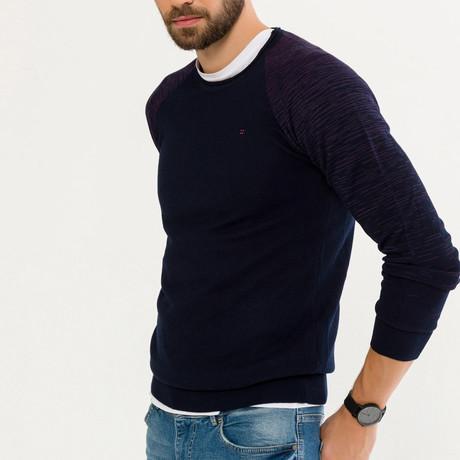 Wool Blend Heathered Crewneck Sweater // Navy Blue (XS)