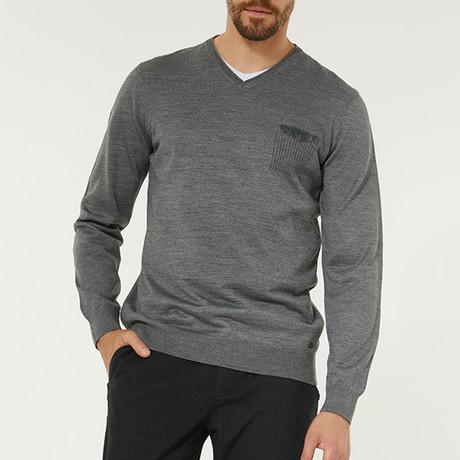 Wool Blend V-Neck Pocket Sweater // Gray (XS)