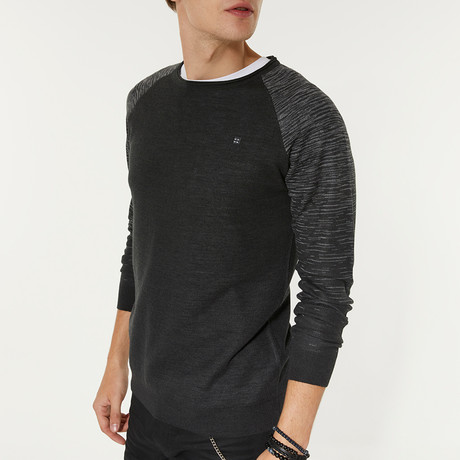 Wool Blend Printed Sleeve Crewneck Sweater // Anthracite (XS)