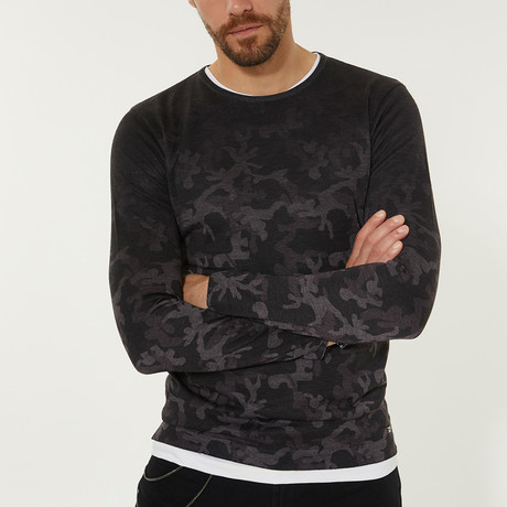 Lightweight Camo Print Sweater // Black (XS)