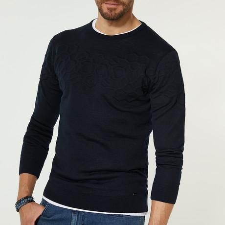 Wool Blend Textured Crewneck Sweater // Navy Blue (XS)