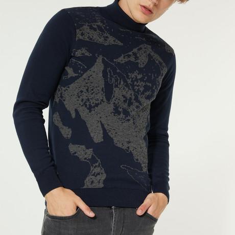 Nature Printed Turtleneck Sweater // Navy Blue (XS)