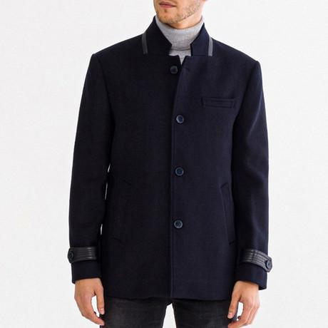 Wool Blend Car Coat // Navy Blue (XS)