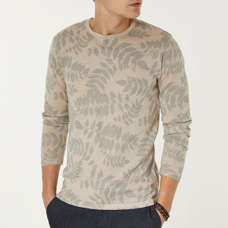 Wool Blend Lightweight Leaf Print Sweater // Beige (XS)
