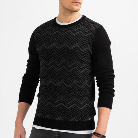 Chevron Knit Sweater // Black (XS)