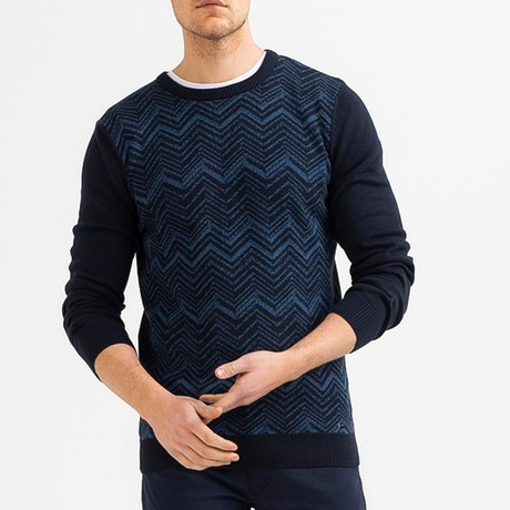 Chevron Knit Sweater // Navy Blue (XS)