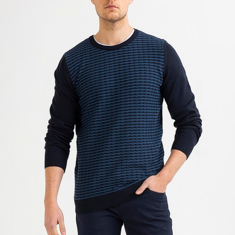 Narrow Cable Knit Sweater // Navy Blue (XS)