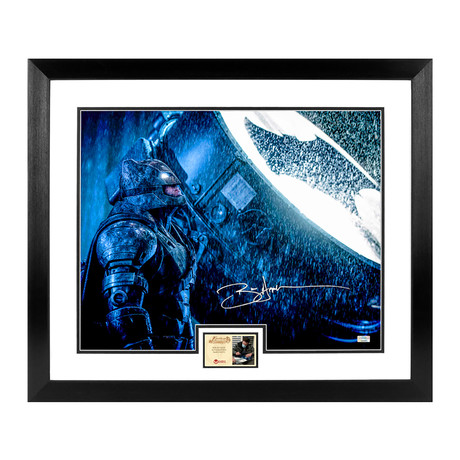 Ben Affleck // Batman vs Superman: Dawn of Justice // Autographed + Framed Bat Signal Photo