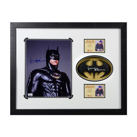 Val Kilmer // Batman Forever // Autographed Photo + Cowl Emblem Display