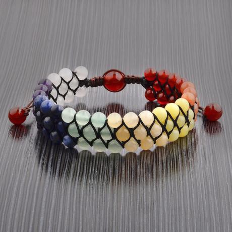 Polished Bead Adjustable Bracelet // Multicolor