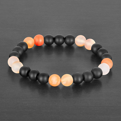 Agate Beaded Bracelet // Black + Orange