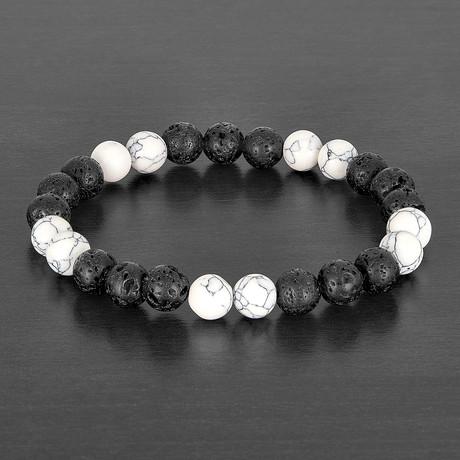 Lava + Stone Beaded Bracelet (Howlite)