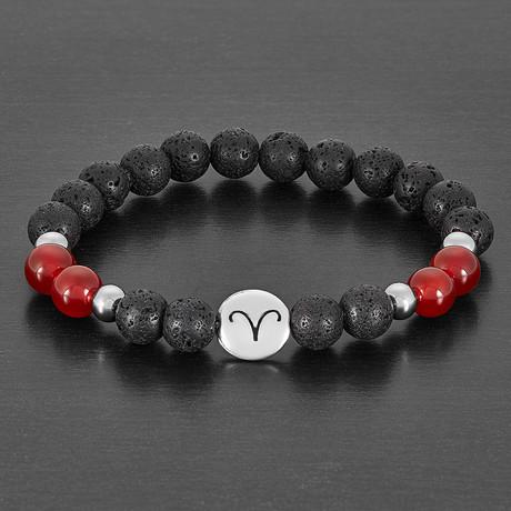 Agate + Lava Stone Horoscope Beaded Bracelet (Aries)