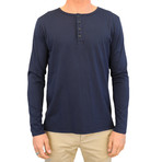 Basis Long Sleeve Henley // Navy (L)