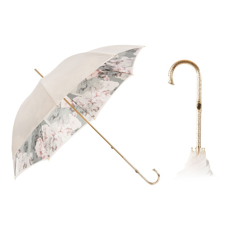Double Cloth Long Umbrella // Ivory + Floral Printed Interior