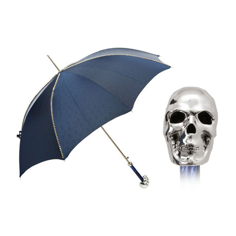 Studded Long Umbrella // Silver Skull Handle