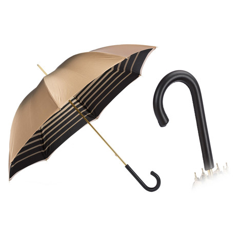 Double Cloth Long Umbrella // Ivory + Striped Interior