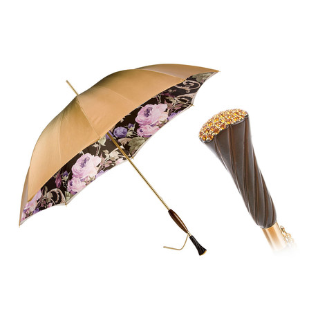 Double Cloth Long Vintage Umbrella // Beige + Floral Printed Interior