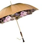 Double Cloth Long Vintage Umbrella // Beige + Floral Printed Interior