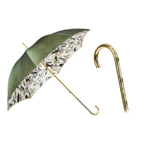 Double Cloth Long Umbrella // Olive Green + Floral Printed Interior
