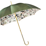 Double Cloth Long Umbrella // Olive Green + Floral Printed Interior