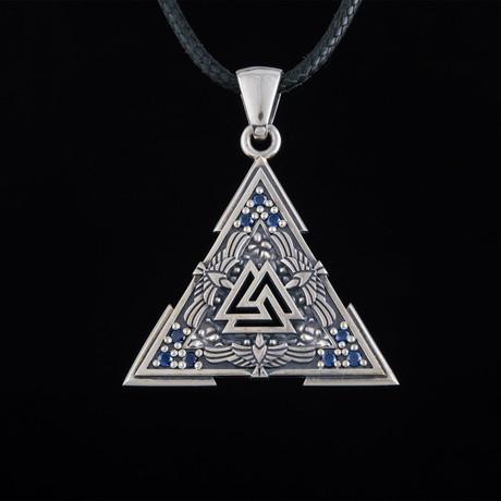 Valknut Symbol + Raven Ornament Pendant