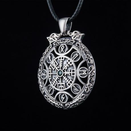 Vegvisir Symbol + Viking Runes Ornament Pendant