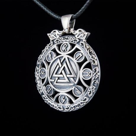 Valknut Symbol + Viking Runes Ornament Pendant