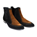 Two-Tone Side Zipper Boot // Black + Brown (US: 7.5)