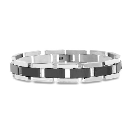 Steel Evolution // Two-Tone Link Bracelet // Black + Silver