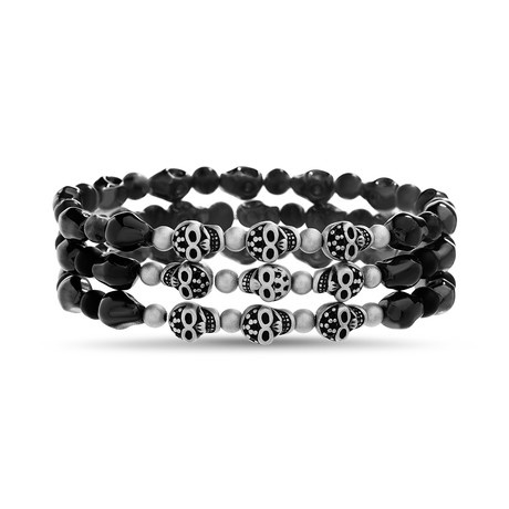 Willowbird // Skulls + Glass Beads Bracelets // Black // Set of 3