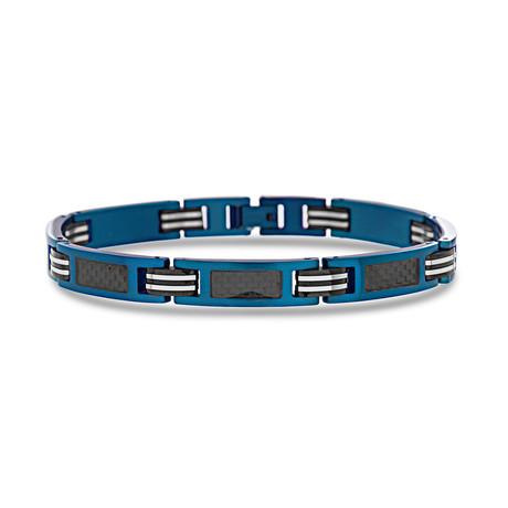Steel Evolution // Carbon Center Chain Link Bracelet // Blue