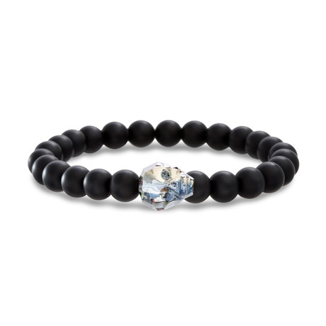Willowbird // Glass Skull Beaded Stretch Bracelet // Black