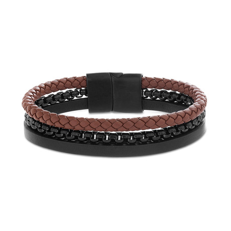 Steel Evolution // Braided Leather + Box Chain Triple Stranded Bracelet // Black + Brown
