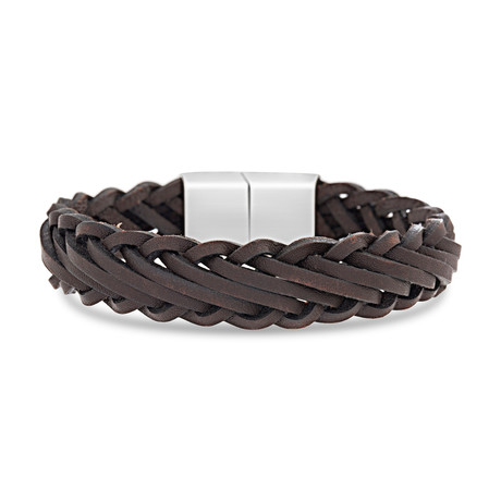 Willowbird // Braided Leather Magnetic Clasp Bracelet // Brown