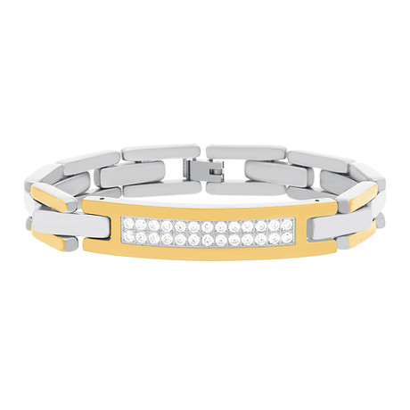 Steel Evolution // Cubic Zirconia Two-Tone ID Bracelet // Yellow