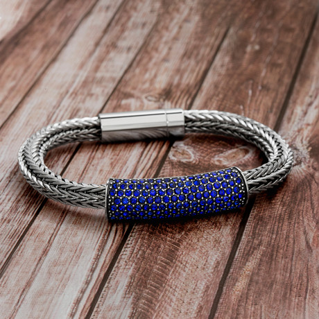 Steel Evolution // Crystal Bar + Foxtail Chain Bracelet // Blue
