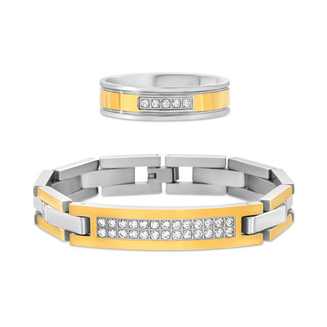 Steel Evolution // Cubic Zirconia Pave Curved Bar Bracelet + Ring Set // Yellow