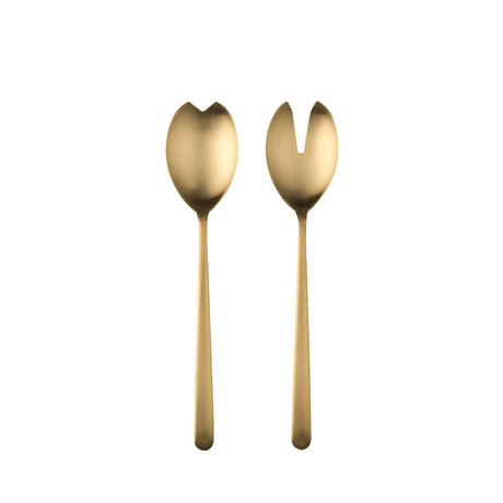 Linea Salad Servers // Brushed Gold