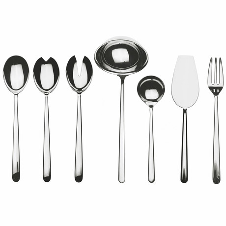 Linea Full Serving Set // 7 Piece Set (Glossy Stainless)