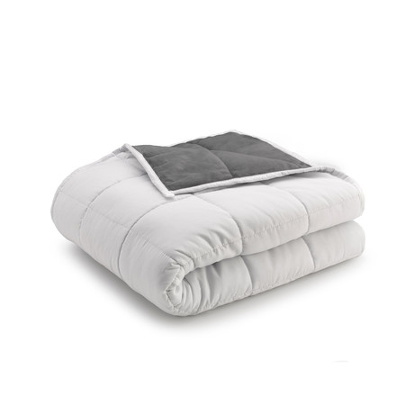 Reversible Weighted Anti-Anxiety Blanket // Gray + White (12lbs)