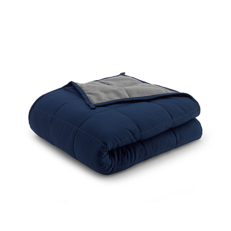 Reversible Weighted Anti-Anxiety Blanket // Gray + Navy (12lbs)