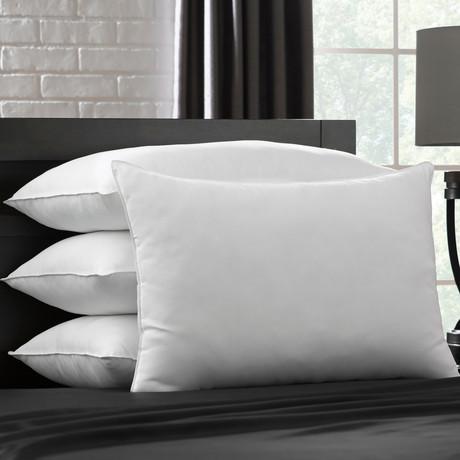 Soft Plush Gel Fiber Filled Allergy Resistant Stomach Sleeper Pillow // Set of 4 (Standard)