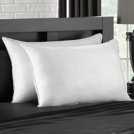 Soft Plush Gel Fiber Filled Allergy Resistant Stomach Sleeper Pillow // Set of 2 (Standard)