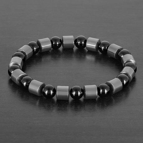 Cylinder Hematite + Onyx Beaded Bracelet // Gray + Black