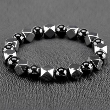 Hexagon Hematite + Onyx Stone Bracelet // Gray + Black