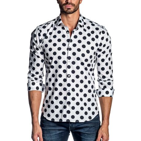 Polka Dot Long-Sleeve Shirt // White + Black (S)