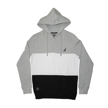 Colorblock Fleece 1/4 Zip Hoodie // Gray Mix + Black (S)